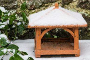 Mangeoire aux oiseaux vide mais avec petit manteau de neige.