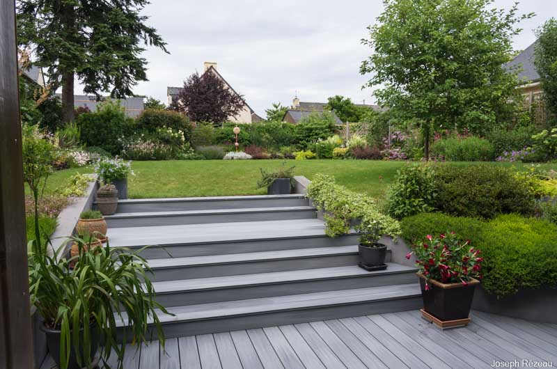 View of the new decking on the garden stairs